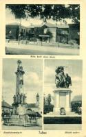 Tolna, Római katolikus elemi iskola, Szentháromság tér, Hősök szobra (ázott sarok / wet corner)