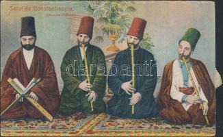 Derviches musiciens / Turkish folklore from Constantinople, dervish musicians, Konstantinápoly, török folklór, dervis zenészek