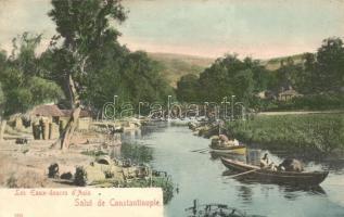 Constantinople, Les Eaux-douces dAsie / river, boats (EK)