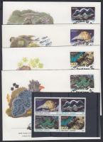 1986 WWF tengeri csigák és kagylók négyestömb + 4 FDC Mi 73-76