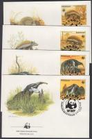 WWF rare animals set on 4 FDC, WWF ritka állatfajták sor 4 FDC