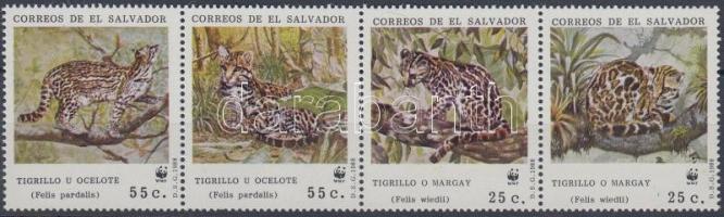 1988 WWF kisméretű macskafajták négyescsík + 4 FDC Mi 1734-1737