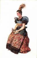 Hungarian folklore from Mezőkövesd s: Csikós Tóth András, Matyó menyecske, Mezőkövesd s: Csikós Tóth András