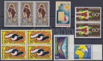 1963/1977 Europafrique 12 stamps (with 2 margin + 1 pair + 1 stripe of 3 + 1 block of 4), 1963/1977 Europafrique 12 bélyeg (közte 2 ívszéli bélyeg + 1 pár + 1 hármascsík + 1 négyestömb)