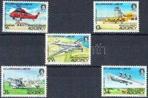 1985 50 éves Alderney repülőtere sor Mi 18-22