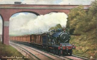 "Continental Express, G.E.R. near Brentwood, ""Famous Expresses' Raphael Tuck & Sons, ""Oilette"" Postcard 6493., Continentál Express vonat Brentwood közelében,  Raphael Tuck & Sons, ""Oilette"" Postcard 6493."
