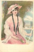 Lady, Gibson Art Company litho s: Fred S. Manning, Kalapos hölgy, Gibson Art Company litho s: Fred S. Manning