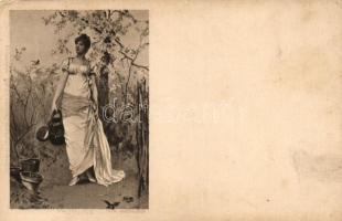 Frühling / Spring lady, Rembrandt Postkarte Reinicke & Rubin s: F. H. Kammerer, Hölgy, Rembrandt Postkarte Reinicke & Rubin s: F. H. Kammerer