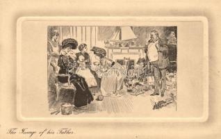 The Image of his father / Newborn baby, humour, Alfred Schweizer Gibson Karte No. 792., Újszülött látogatása, humor,  Alfred Schweizer Gibson Karte No. 792.