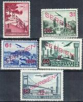 Szerbia 1941 Légiposta sor Mi 26-30