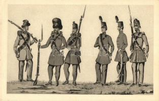 Hungarian infantry soldiers in 1848, Magyar gyalogság; vadász, gránátos, honvéd, tüzér, szekerész, árkász; Komlós Negyvennyolc sorozat I.