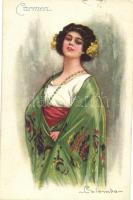 Carmen. Italian art postcard C.C.M. No. 1690-2 s: Colombo, Carmen. olasz művészlap C.C.M. No. 1690-2 s: Colombo