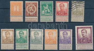 1912 I Albert király sor Mi 89-99 (Mi 93 pecsételt)