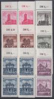 1955 Felújított történelmi épületek 6 ívszéli négyestömb (sor) Mi 491-496