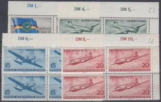 1956 A polgári légi közlekedés megnyitása az NDK-ban 3 ívsarki + 1 ívszéli négyestömb (sor) Mi 512-515