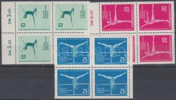 1961 Európa Kupa női művészeti tornából 3 ívszéli négyestömb (sor) Mi 830-832