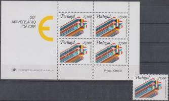25th anniversary of European Economic Cooperation stamp + block, 25 éves az Európai Gazdasági Együttműködés bélyeg + blokk