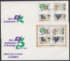 75th anniversary of Scout Movement set + block 2 FDC, 75 éves a Cserkész Mozgalom sor + blokk 2 db FDC-n
