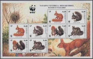 WWF European native squirrel full sheet, WWF őshonos európai mókus teljes ív