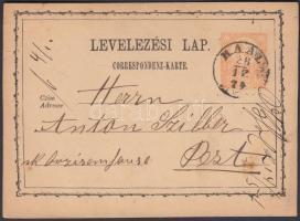 1874 Díjjegyes levelezőlap KAÁL HEVES M.