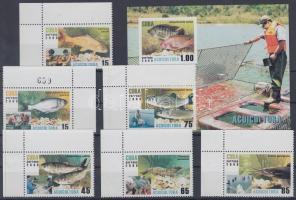 2008 Akvakultúra fogazott ívsarki sor Mi 5049-5054 + vágott blokk Mi 237