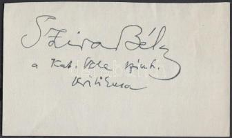 Szira Béla (1890-1961) színikritikus aláírása