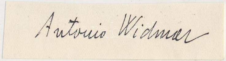 Widmar, Antonio (1899-1980) író, költő, műfordító Aláírás kivágáson.