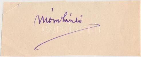 Móra László (1914-2009) magyar könyvtáros, tudománytörténész, az MTA doktora. A műszaki tudománytörténet jeles kutatója.  Aláírás kivágáson.