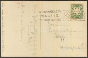 1910 Oberammergau képeslap passiójátékok alkalmi bélyegzéssel