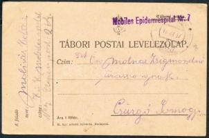 1917 Tábori posta levelezőlap Mobiles Epidemiespital Nr.7 + EP 264