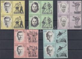 1963 Nemzeti emlékek: meggyilkolt antifasiszta sportolók 2 sor szelvényes négyestömbökben Mi 983-987