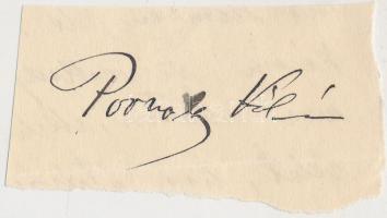 Porzsolt Kálmán (1860-1940) író, újságíró, színigazgató; a Petőfi Társaság tagja. Aláírás kivágáson.