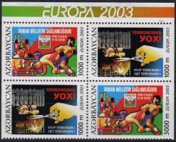 2003 Europa CEPT plakátművészet 2 sort tartalmazó alul-felül vágott négyestömb