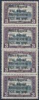 Nyugat-Magyarország I. 3K négyescsík benne 2 bélyeg hármas lyukasztással (72.000) / Mi 10 stripe of 4 with 2 stamps with 3-hole punching. Signed: Bodor