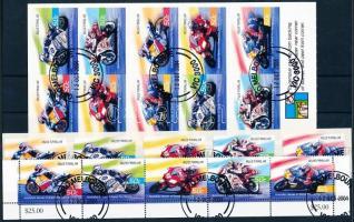 2004 Motorverseny ívsarki 5-ös csík, öntapadó sor és bélyegfüzet Mi 2378-2382 + 2383-2387 + MH 195