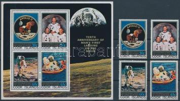 Moon landing anniversary set + block, A holdra szállás évfordulója sor + blokk