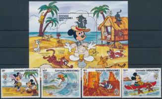 International Year of Youth, Disney characters set + block, Az ifjúság nemzetközi éve, Disney figurák sor + blokk