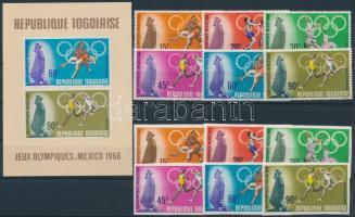 1968 Nyári olimpia, Mexikó fogazott és vágott sor Mi 661-666 + blokk 35