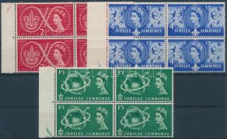 1957 Cserkészet sor ívszéli 4-es tömbökben Mi 299-301