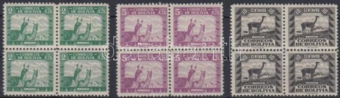 1939 Forgalmi értékek négyestömbökben Mi 292, 294-295