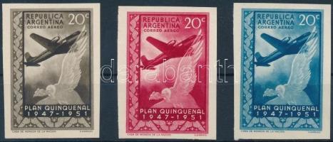 1951 Ötéves terv 20C érték 3 db vágott színpróbanyomat / Mi 588 3 different colour proofs