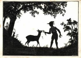Hungarian scout, silhouette s: Wolf, A cserkész jó az állatokhoz... A 658. sz. cserkészcsapat kiadása,  s: Wolf