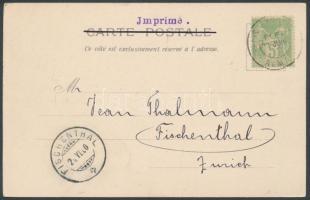 Paris World's Fair postcard with occasional cancellation to Switzerland, Párizsi világkiállítás képeslap kiállítási alkalmi bélyegzéssel Svájcba