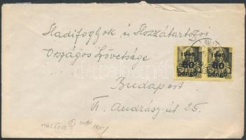 1945 (5. díjszabás) Helyi levél 3. súlykategóriában Kisegítő (III) 2x60P/18f bérmentesítéssel / Local cover 3nd weight class