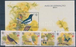 1995 SINGAPORE nemzetközi bélyegkiállítás: énekesmadarak sor (2 pár) Mi 814-817 + blokk Mi 30