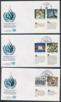 Human Rights 3 diff. coupon set on 3 FDC, Emberi Jogok 3 klf szelvényes sor 3 db FDC-n