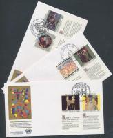 UN New York, Vienna, Geneva 3 diff. sets with coupon on 3 FDCs, ENSZ New York, Bécs, Genf 3 klf szelvényes sor 3 db FDC-n