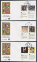 UN New York, Geneva, Vienna Human rights 3 diff. sets with coupon on 3 FDCs, ENSZ New York, Genf, Bécs Emberi Jogok 3 klf szelvényes sor 3 db FDC-n