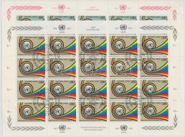 25th anniversary of UN's post minisheet set (damaged margin), 25 éves az ENSZ postája kisívsor (sérült ívszél)