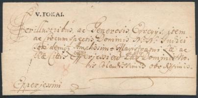 1754 Portós levél / unpaid cover V.TOKAI. - Eperjessini